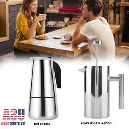 0.8/1L Double Stainless Steel Wall French Press Coffee Tea M