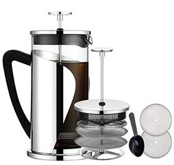 Bebeke 1 French Press 34oz Coffee and Tea Makers with 4 Leve