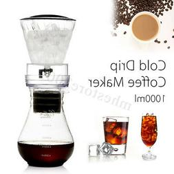 1000mL Glass Cold Iced Drip Brew Coffee Tea Maker Pot Pour O