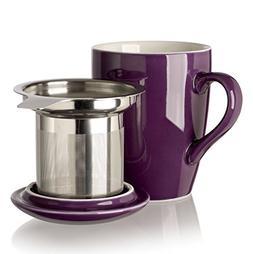Adagio Teas 10087 Porcelain Mug with Infuser, 12 oz, Plum
