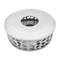 2X(Stainless Steel Tea Warmer  Round Tea Maker Candle Base
