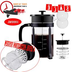 34oz French Press Coffee Maker Tea Maker Steel Filter Glass
