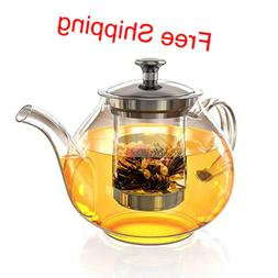 40 oz Glass Tea Pot Set, Loose Leaf Tea Pot with Infuser and
