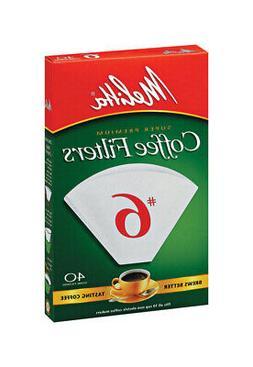 Melitta 626402 40-Count No.6 White Cone Coffee Filters