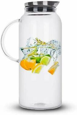 68 Ounces Glass Pitcher with Lid, Hot/Cold Water Carafe, Jui