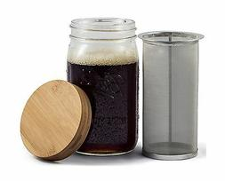 Mason Jar Cold Brew Coffee Maker & Iced Tea Maker | Quart  |