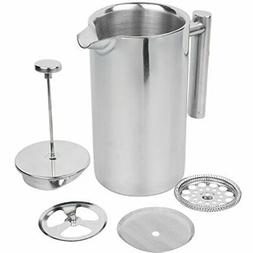 Stainless Steel French Press Coffee Maker, 34oz, Double Wall