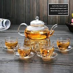 Clear Glass Teapot Set with Infuser,Glass Tea Maker,4 glass