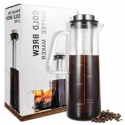 Cold Brew Iced Coffee Tea Maker 34 Oz Brewing Glass Carafe R