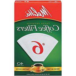 Melitta Cone Coffee Filters, White, No. 6, 40-Count Filters