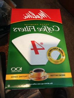 Melitta Cone Coffee Filters, White, No. 4, 100 count