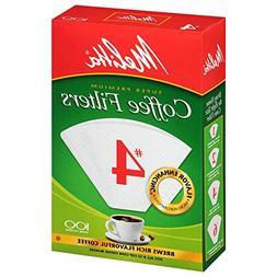 Melitta Cone Coffee Filters White No. 4 100 Count