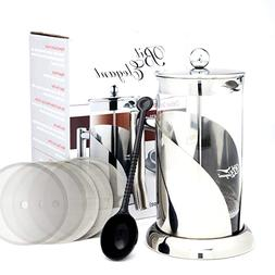 Deluxe French Press Coffee Leaf Tea Maker 8 Cups Stainless S