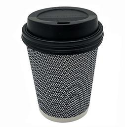 8 oz Disposable Double Walled Hot Cups with Lids - No Sleev