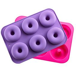 KLEMOO 2-Pack Donut Baking Pan, Silicone, Non-Stick Mold, Ba