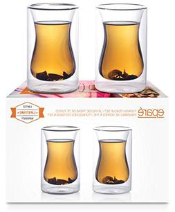 Epare Double Wall Insulated 6-ounce Turkish Style Tea Cups