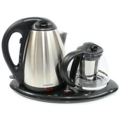 Electric Kettle and Tea Maker Set Stainless Steel & Glass &