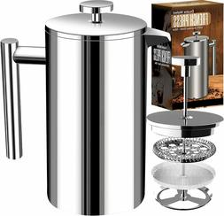 French Coffee Press - Double Wall 100% Stainless Steel - 32