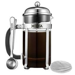 Aicok French Press Coffee Maker 34 oz/1L 8-Cup,Tea Maker, Fr