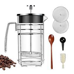 Barvest French Press Coffee Maker, TEA Maker, Large 8 cup Wi