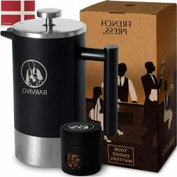 BARVIVO French Press Coffee Tea Maker -Insulated Stainless S