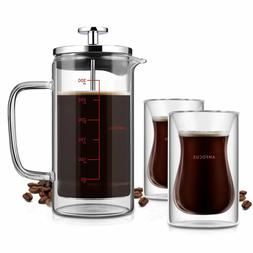 French Press Coffee Tea Maker w/ 2 Espresso Cups|Double Wall