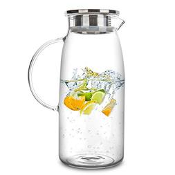 60oz Glass Pitcher w/ Lid Hot/Cold Water Jug Juice and Iced