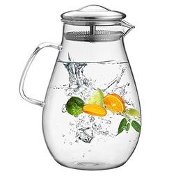 Hiware Glass Pitcher with Stainless Steel Lid, 64 Oz Water C