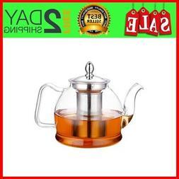 Glass Teapot Safe Kettle Tea Maker Set Removable Infuser Sto