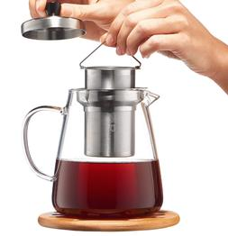 Glass Teapot with Infuser, Loose Leaf Tea Pot 32oz, Stovetop