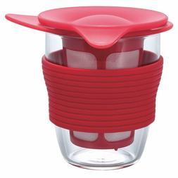 HARIO Handy Tea Maker 200ml Red HDT-M-R Mug with tea straine