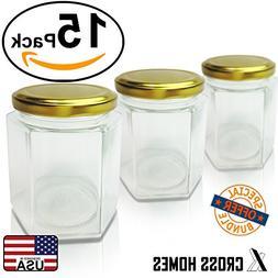 Hexagon Jars Gold Lid  Hexagon Glass Jars with Gold Plastiso