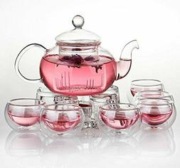 Jusalpha Glass Filtering Tea Maker Teapot with a Warmer and