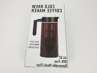 Cold Brew Coffee Maker Brewed Iced Pitcher Infuser Brewer 44oz