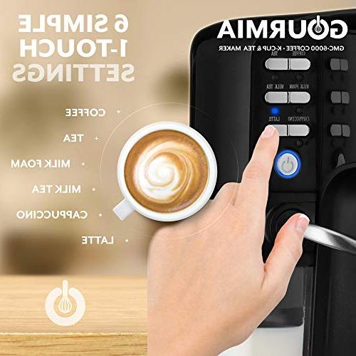 Gourmia GCM6000 1 - One Touch Cappuccino, Latte, & Built-In Milk - K-Cups/Ground Coffee/Loose Tea - Cup