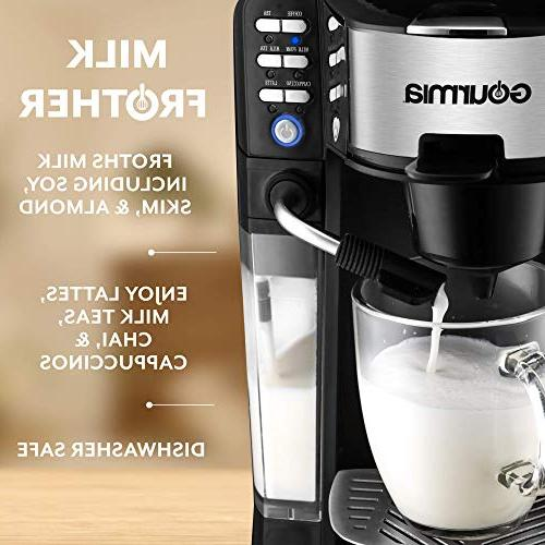 Gourmia 1 One Touch - Cappuccino, Coffee, Tea & Chai/Milk Built-In Milk Frother K-Cups/Ground Coffee/Loose Leaf - Milk Into Cup