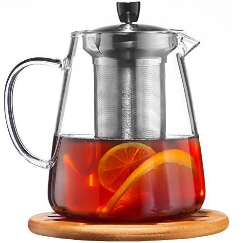 Glass Teapot - Loose Pot Safe Clear Maker for Blooming, tea - Sleeve Warmer Tea, E-Book