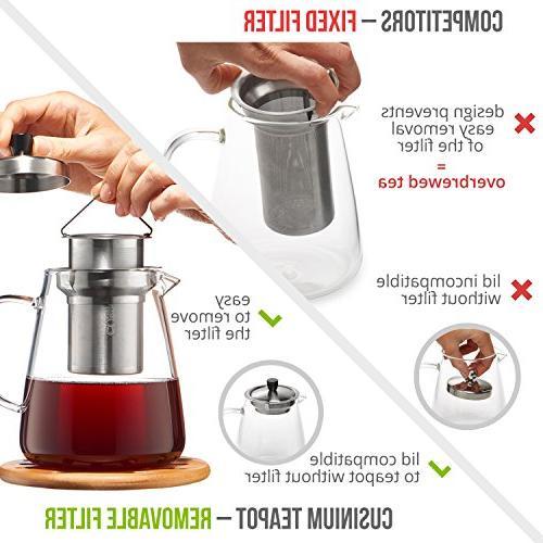 - Pot 32oz Safe Tea - for Blooming, Loose Warmer E-Book