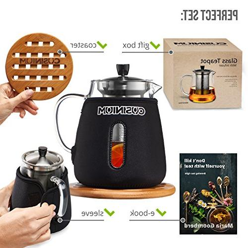 - Loose Leaf Pot 32oz Safe Tea - Tea Pot for Blooming, tea for Warmer Coaster & E-Book