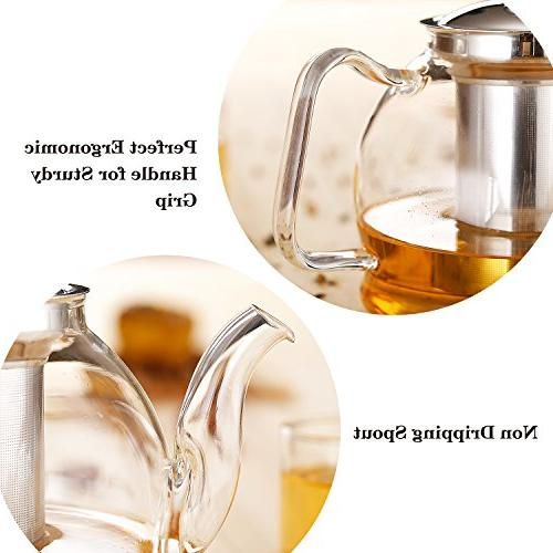 Hiware 1000ml Glass with Infuser, Safe Kettle, and Maker