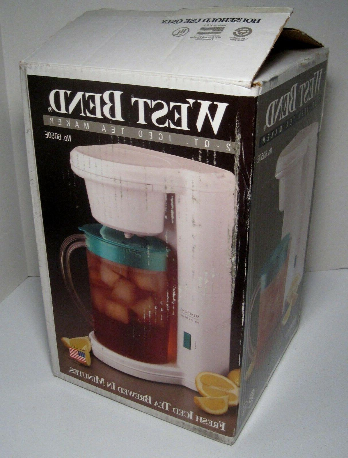 NOS WEST BEND 2 Qt Iced Tea Maker Model 6050E-NEW IN BOX-MAD