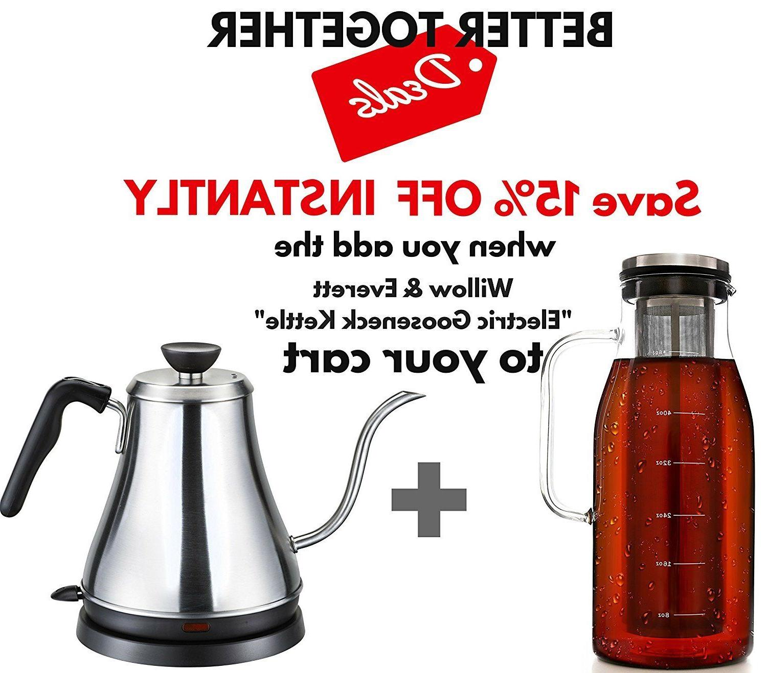 Sealing Cold Brew Maker - 1.5 Quarts Airtight Brewed Iced Coffee Maker...