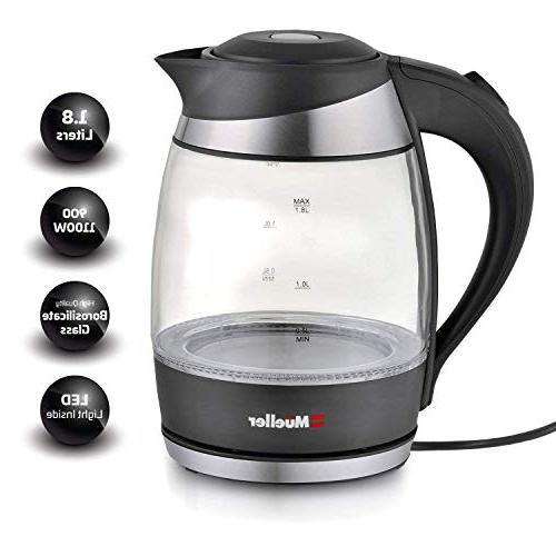 Mueller Electric Water SpeedBoil Tech, Tea, Pot Cordless with LED BPA-Free with Shut-Off and Protection, Black