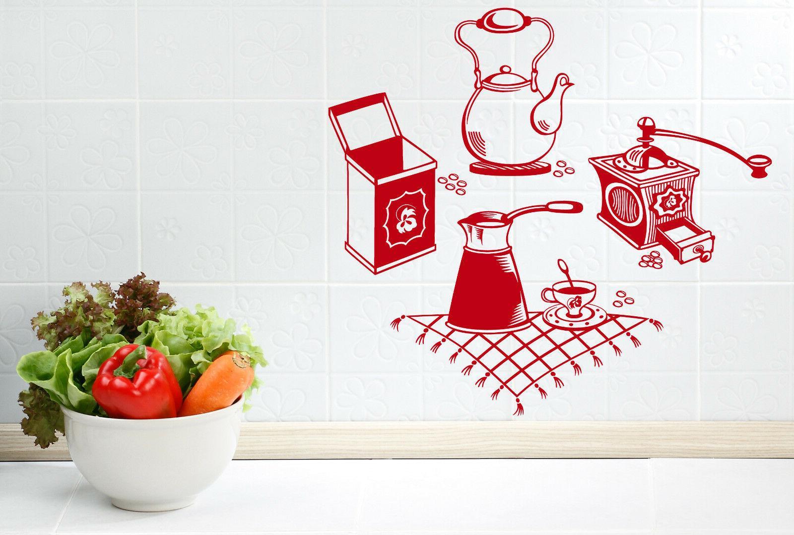 wall vinyl decal coffee grinder maker tea