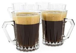 Bezrat Luxury Cappuccino Glass Coffee Tea Cups with Handle -