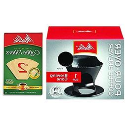 Melitta Pour Over Coffee Cone Brewer & #2 Filter Natural Bro