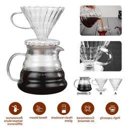 Reusable Glass Coffee Tea Drip Dripper Cafe Maker Cone Folli