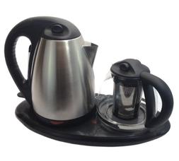 Royal Dual Electric Kettle and Tea Maker Set Stainless Steel