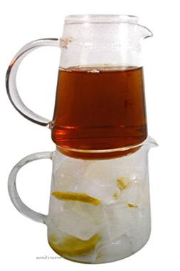 Stacked Iced Tea Brewing Over Ice Double Jug Pitcher
