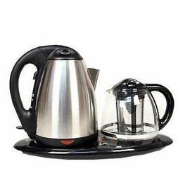 Tea Maker Set - Kettle, Filter, Tray 3 Pc- Dual Electric Ket